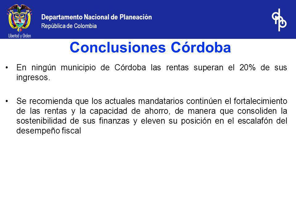 Conclusiones Córdoba En ningún municipio de Córdoba las rentas superan el 20% de sus ingresos.