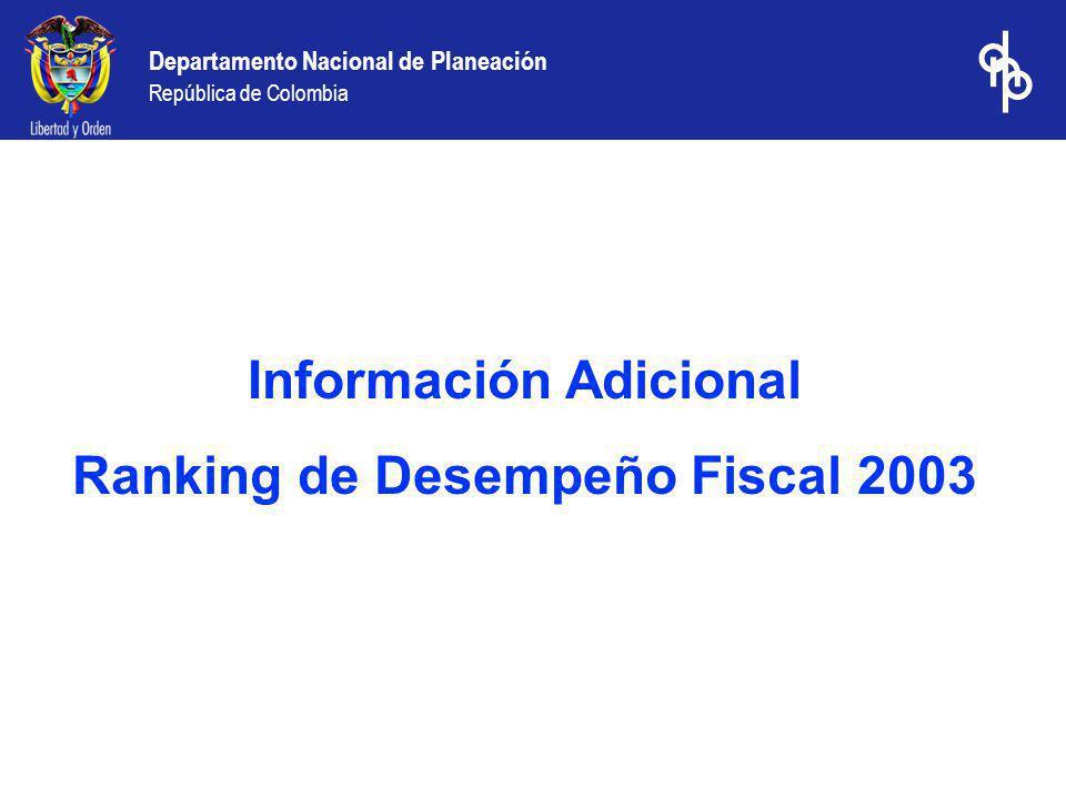 Información Adicional Ranking de Desempeño Fiscal 2003