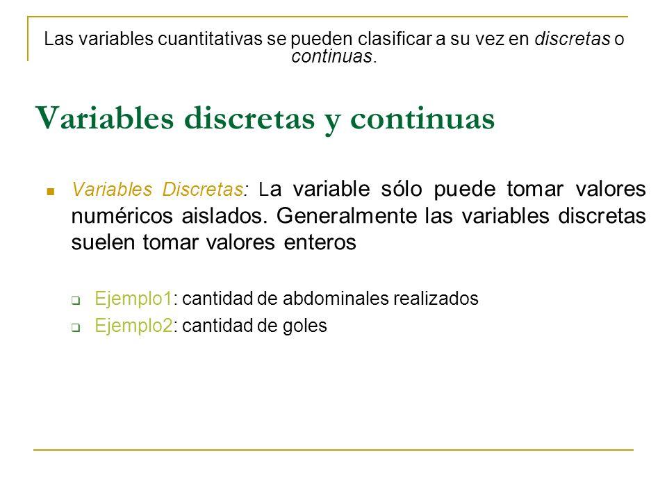 Variables discretas y continuas