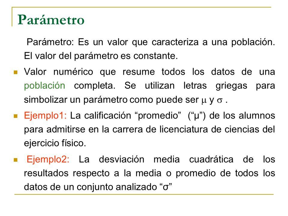 Parámetro Parámetro: Es un valor que caracteriza a una población. El valor del parámetro es constante.