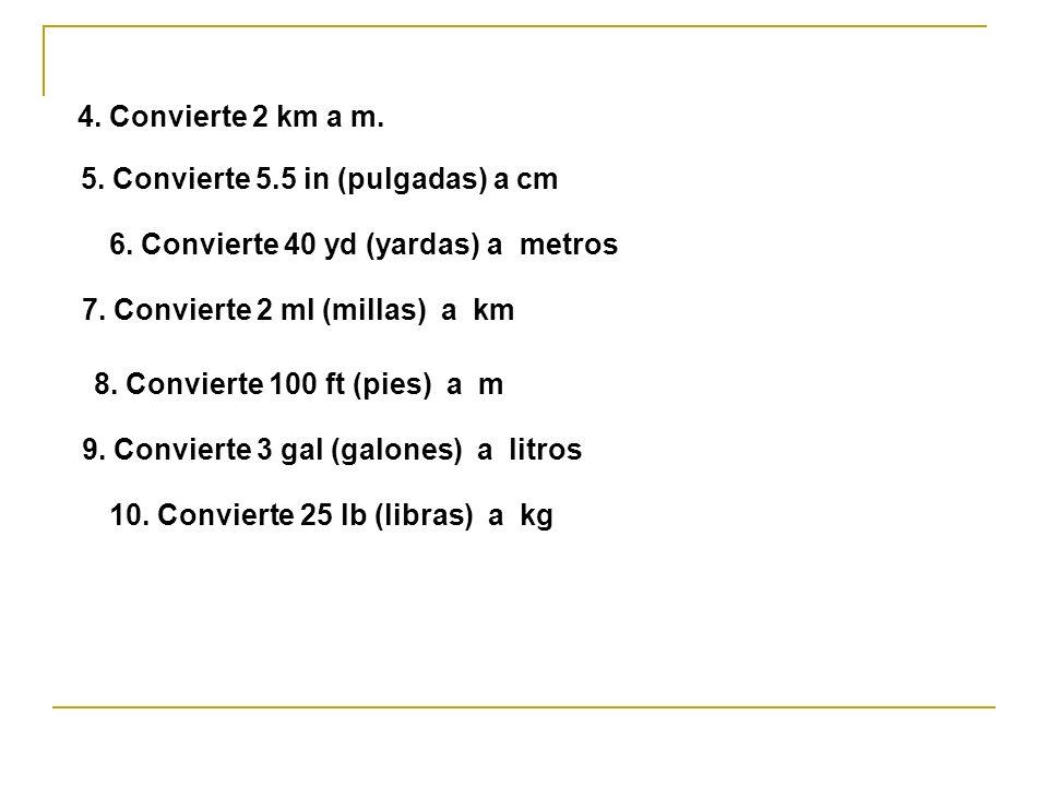 5. Convierte 5.5 in (pulgadas) a cm