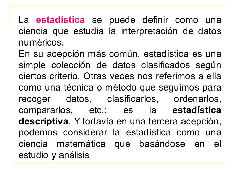 La estadística se puede definir como una ciencia que estudia la interpretación de datos numéricos.