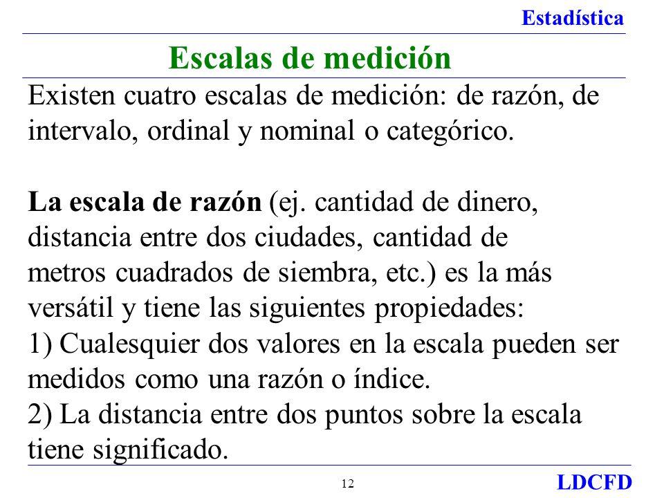 Escalas de medición Existen cuatro escalas de medición: de razón, de intervalo, ordinal y nominal o categórico.