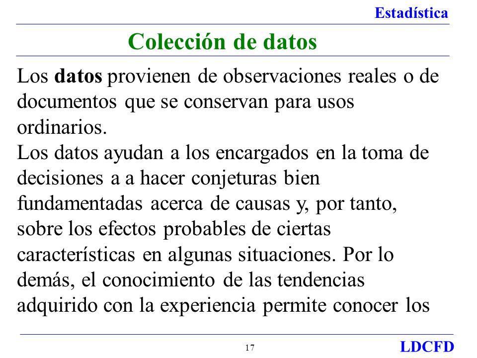 Colección de datos Los datos provienen de observaciones reales o de documentos que se conservan para usos ordinarios.