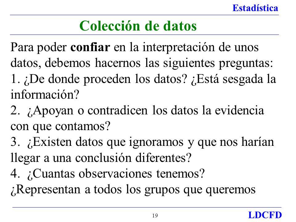 Colección de datos Para poder confiar en la interpretación de unos datos, debemos hacernos las siguientes preguntas: