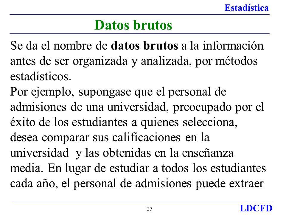 Datos brutos Se da el nombre de datos brutos a la información antes de ser organizada y analizada, por métodos estadísticos.
