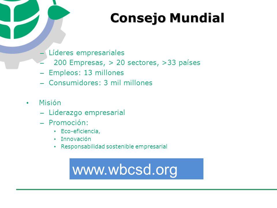 www.wbcsd.org Consejo Mundial Líderes empresariales