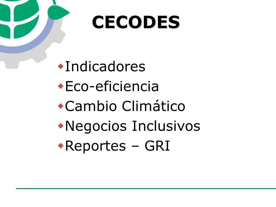 CECODES Indicadores Eco-eficiencia Cambio Climático