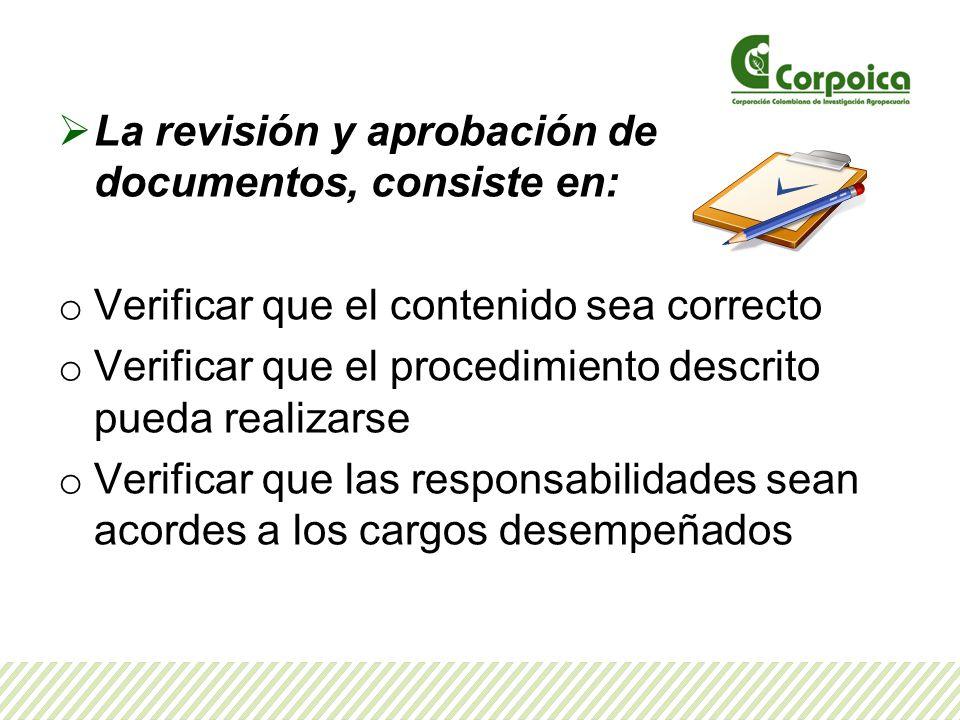 La revisión y aprobación de documentos, consiste en: