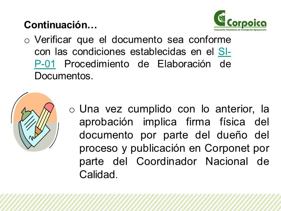 Continuación… Verificar que el documento sea conforme con las condiciones establecidas en el SI-P-01 Procedimiento de Elaboración de Documentos.