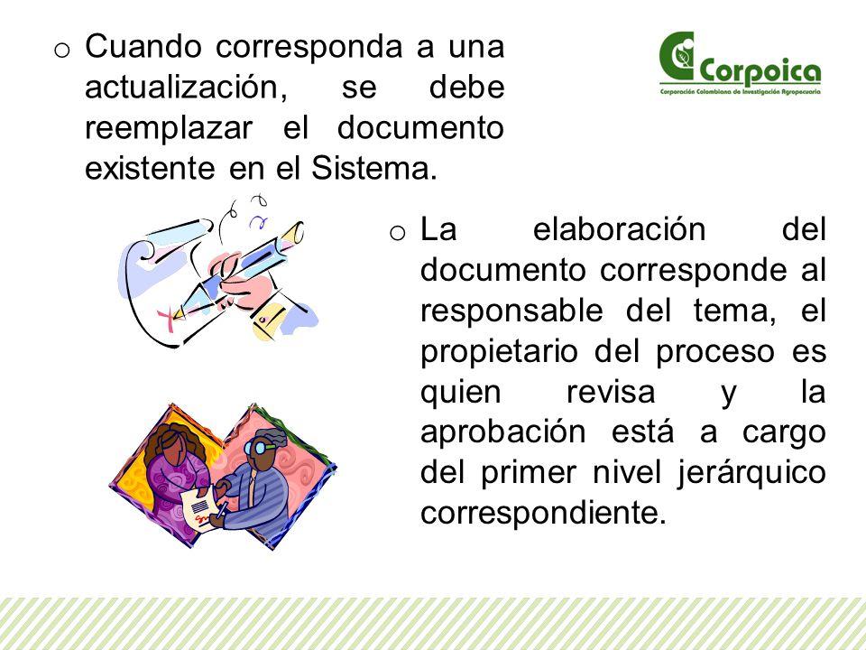 Cuando corresponda a una actualización, se debe reemplazar el documento existente en el Sistema.
