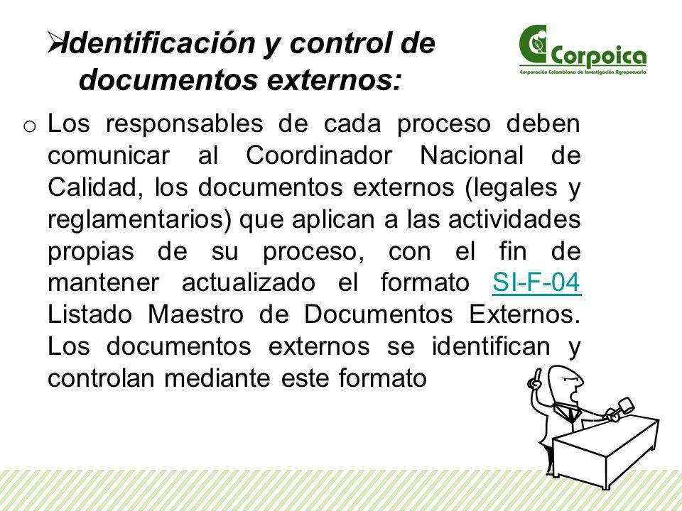 Identificación y control de documentos externos: