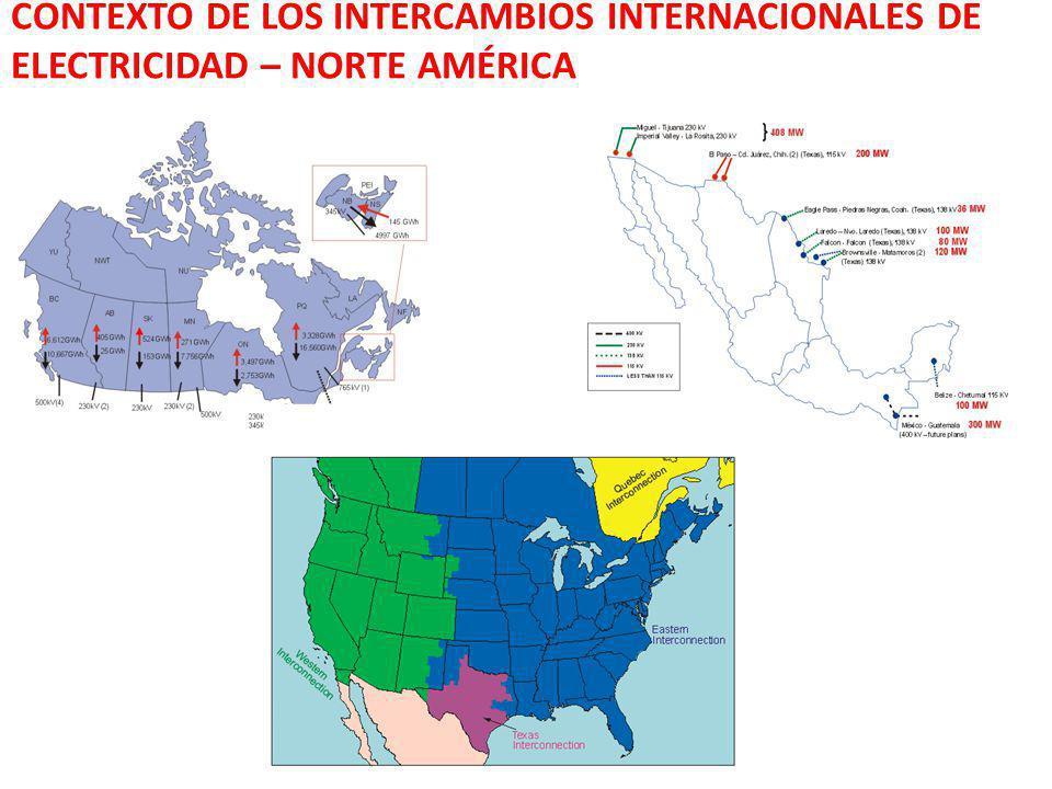 CONTEXTO DE LOS INTERCAMBIOS INTERNACIONALES DE ELECTRICIDAD – NORTE AMÉRICA