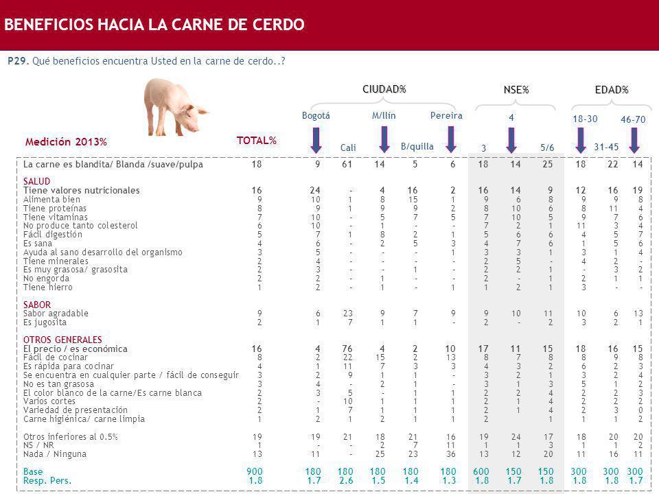 BENEFICIOS HACIA LA CARNE DE CERDO