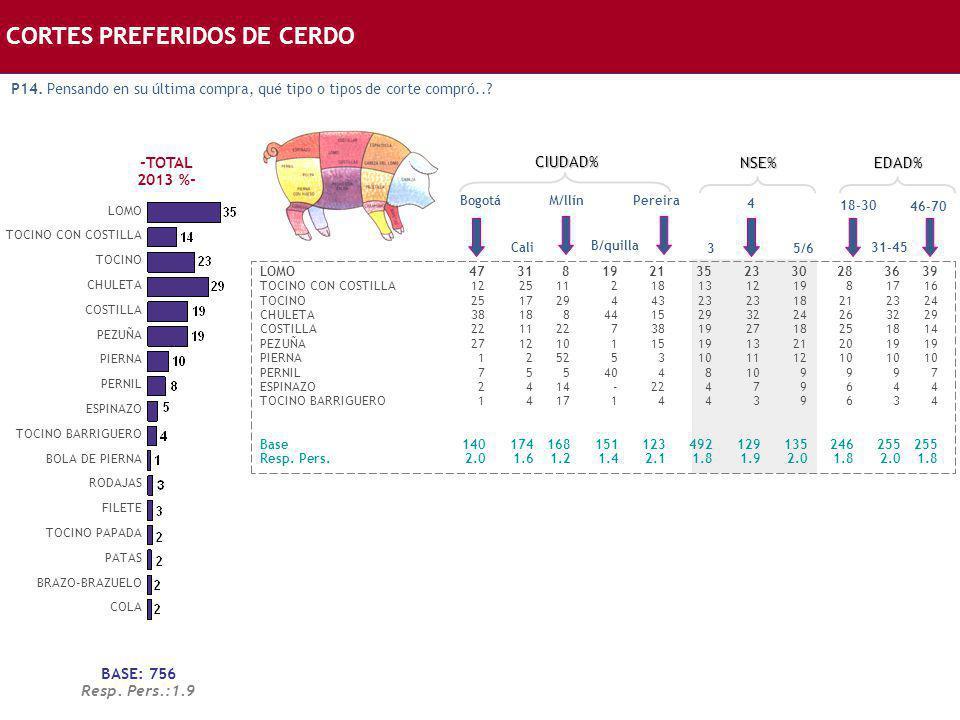 CORTES PREFERIDOS DE CERDO