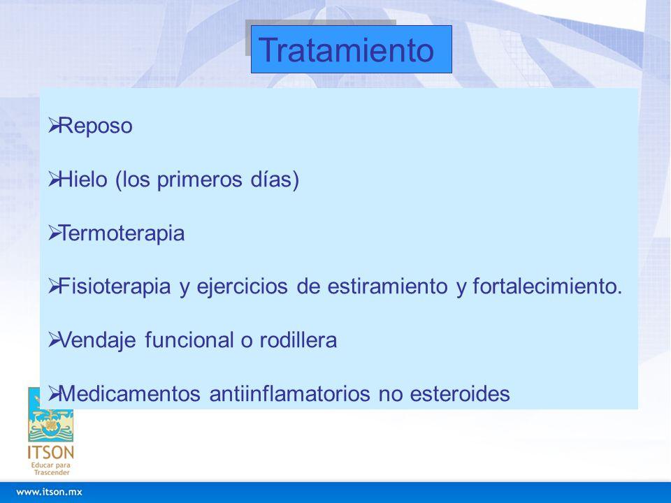Tratamiento Reposo Hielo (los primeros días) Termoterapia