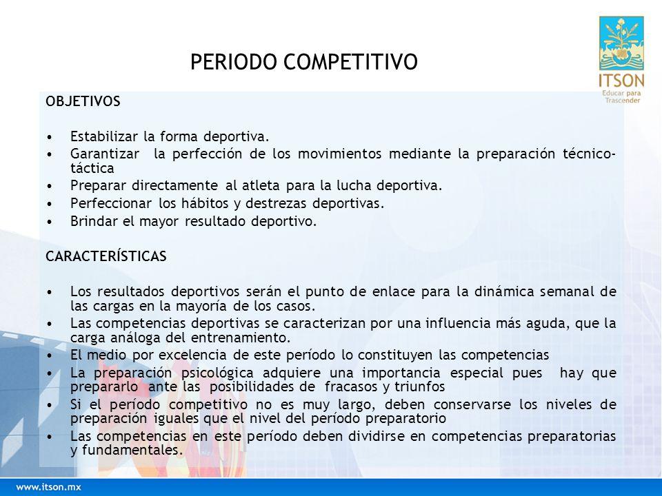 PERIODO COMPETITIVO OBJETIVOS Estabilizar la forma deportiva.