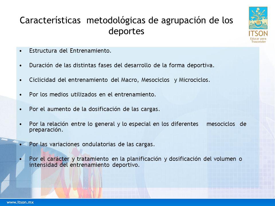 Características metodológicas de agrupación de los deportes