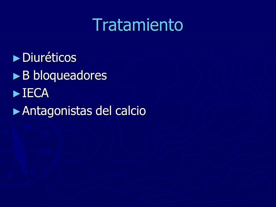 Tratamiento Diuréticos B bloqueadores IECA Antagonistas del calcio