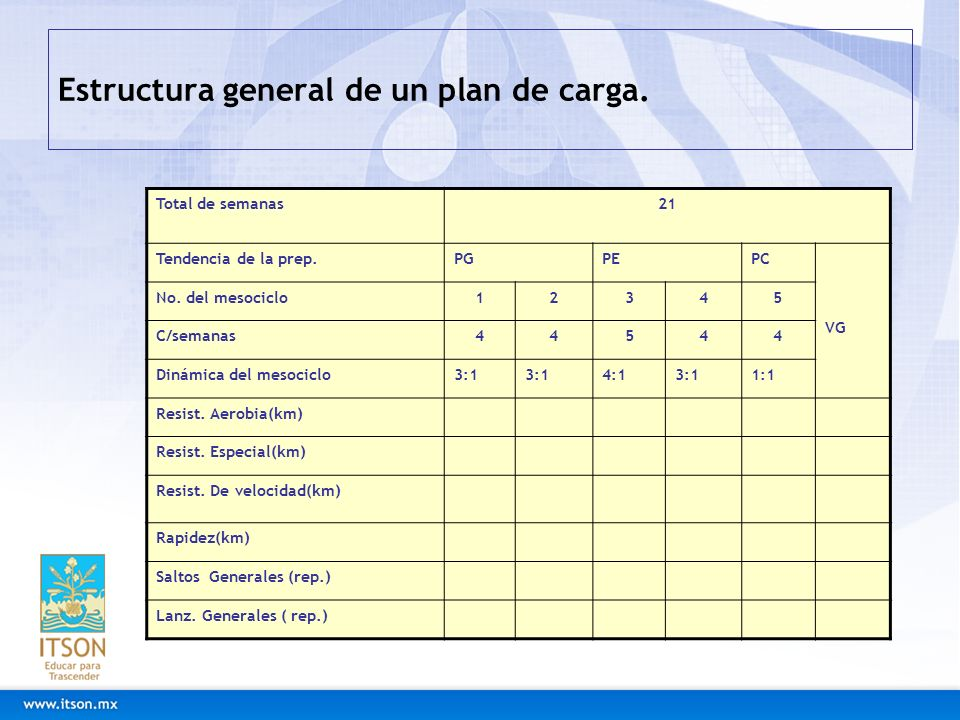Estructura general de un plan de carga.