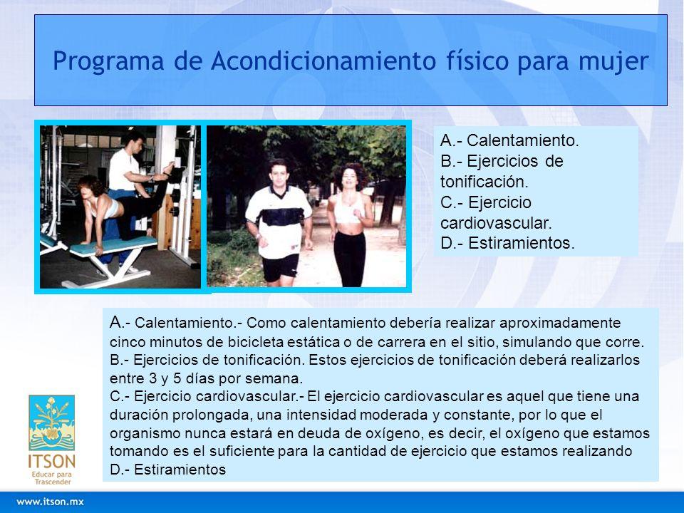 Programa de Acondicionamiento físico para mujer