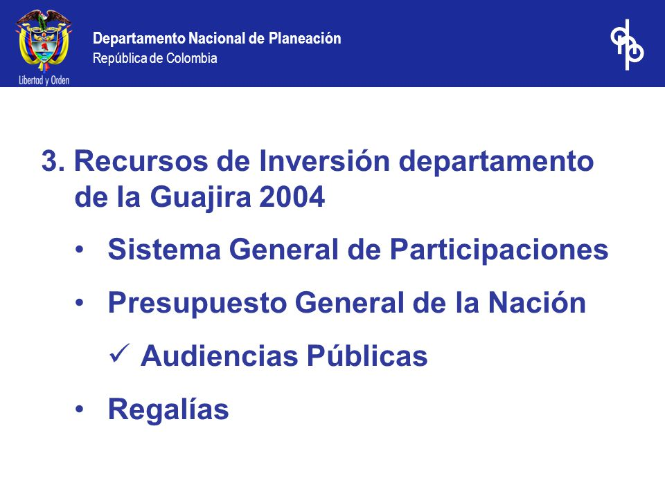 3. Recursos de Inversión departamento de la Guajira 2004
