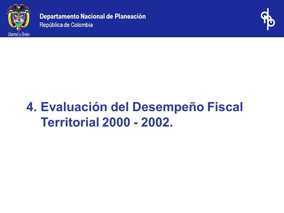 Evaluación del Desempeño Fiscal Territorial 2000 - 2002.