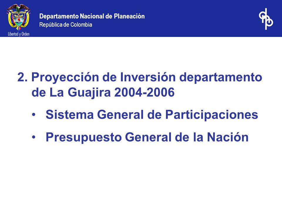 2. Proyección de Inversión departamento de La Guajira 2004-2006