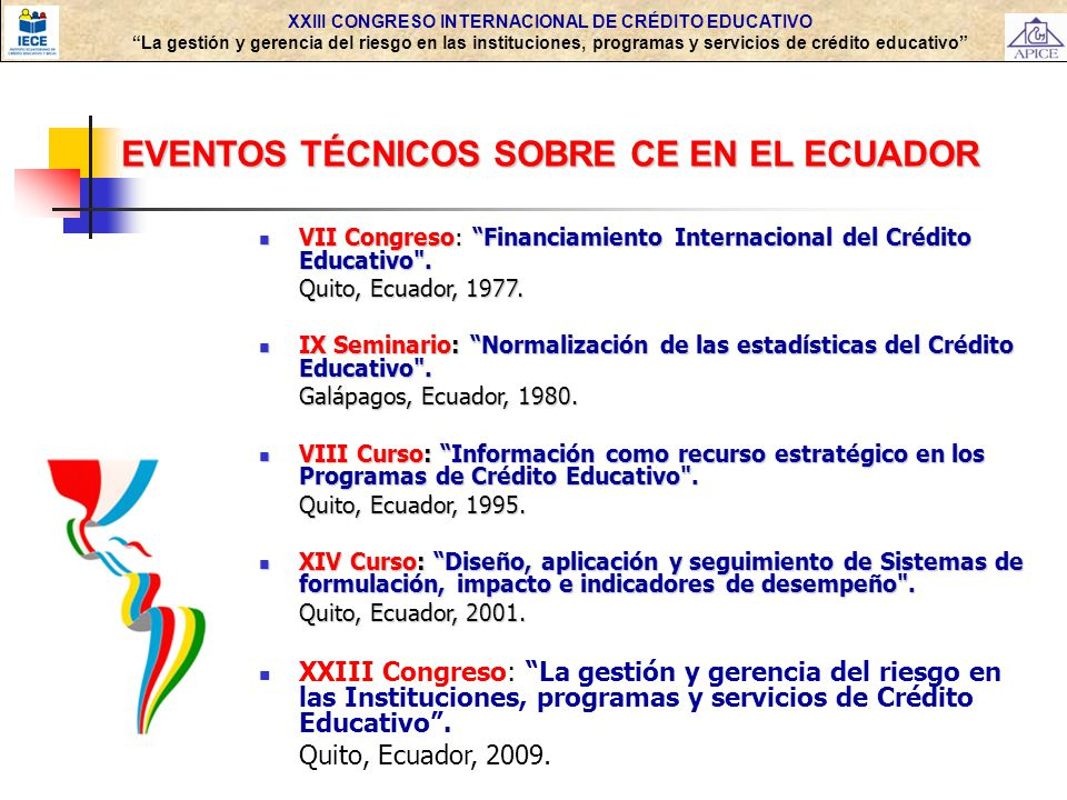 EVENTOS TÉCNICOS SOBRE CE EN EL ECUADOR