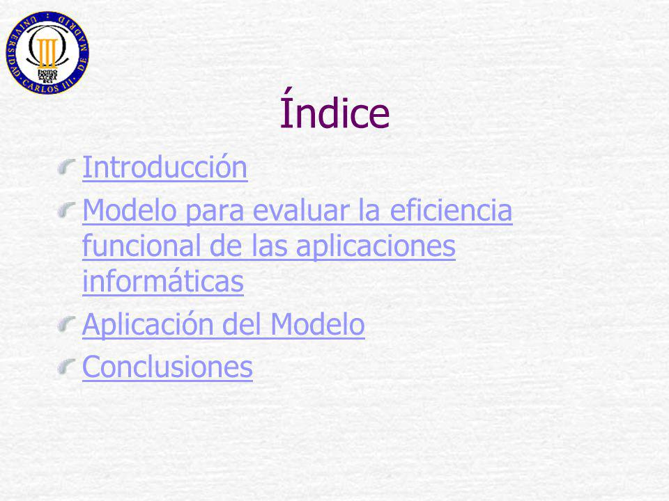 Índice Introducción. Modelo para evaluar la eficiencia funcional de las aplicaciones informáticas.