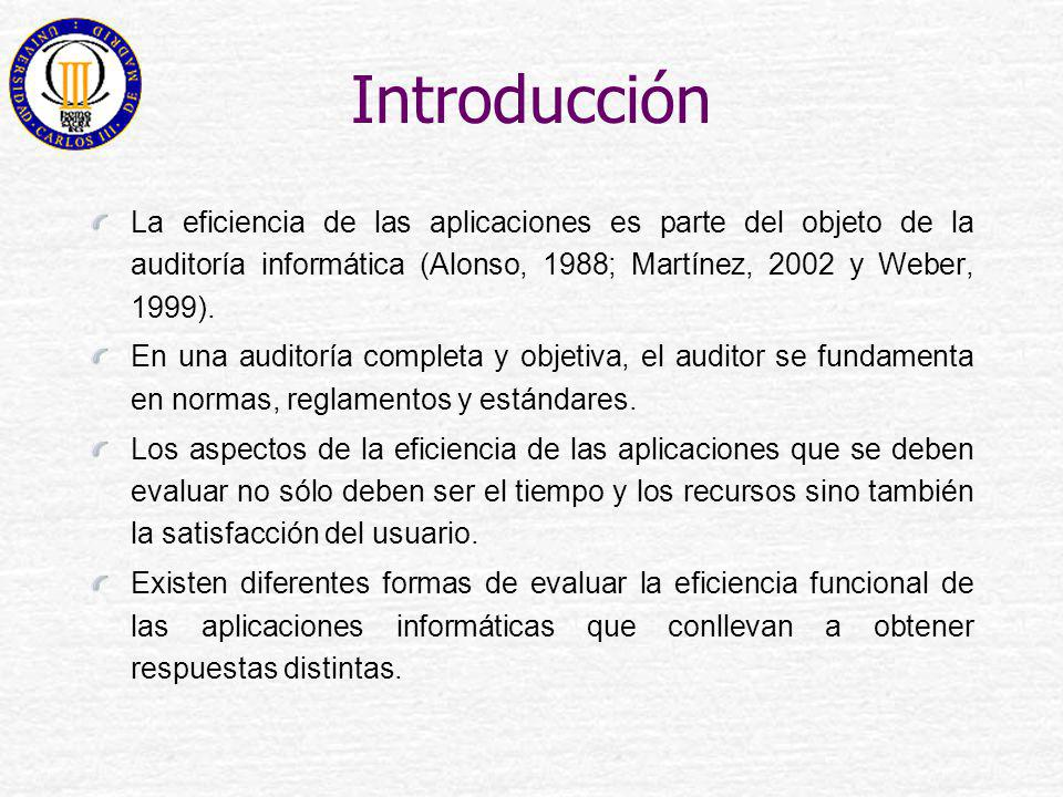 Introducción La eficiencia de las aplicaciones es parte del objeto de la auditoría informática (Alonso, 1988; Martínez, 2002 y Weber, 1999).
