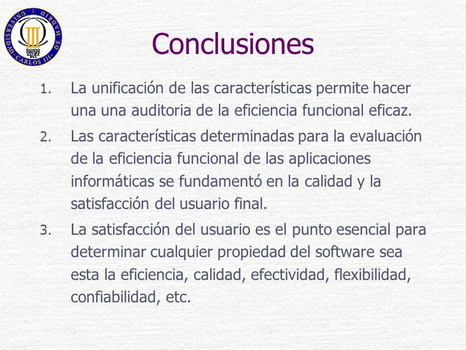 Conclusiones La unificación de las características permite hacer una una auditoria de la eficiencia funcional eficaz.
