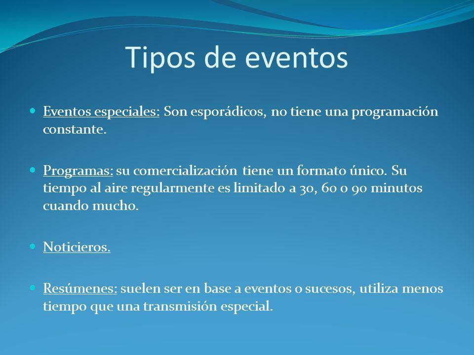 Tipos de eventos Eventos especiales: Son esporádicos, no tiene una programación constante.