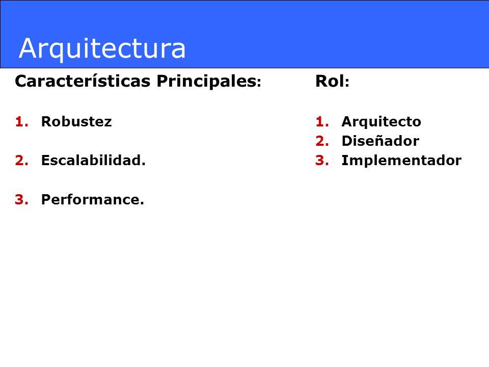 Arquitectura Características Principales: Rol: Robustez Escalabilidad.
