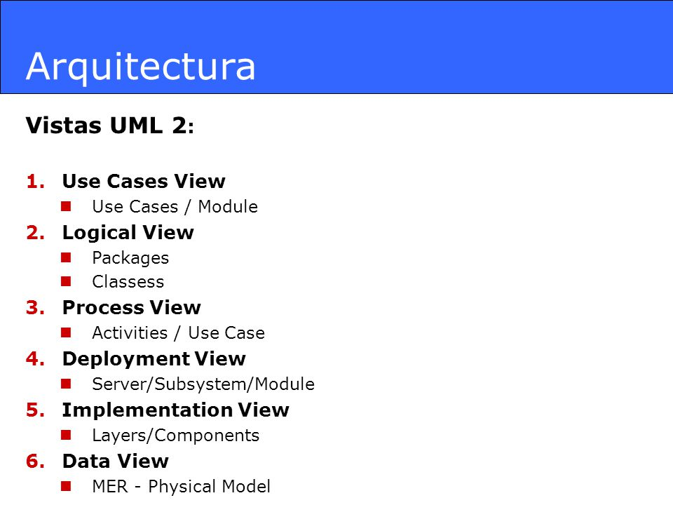 Arquitectura Vistas UML 2: Use Cases View Logical View Process View