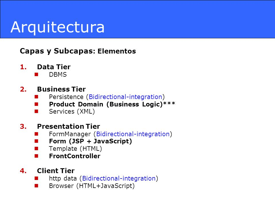 Arquitectura Capas y Subcapas: Elementos Data Tier Business Tier