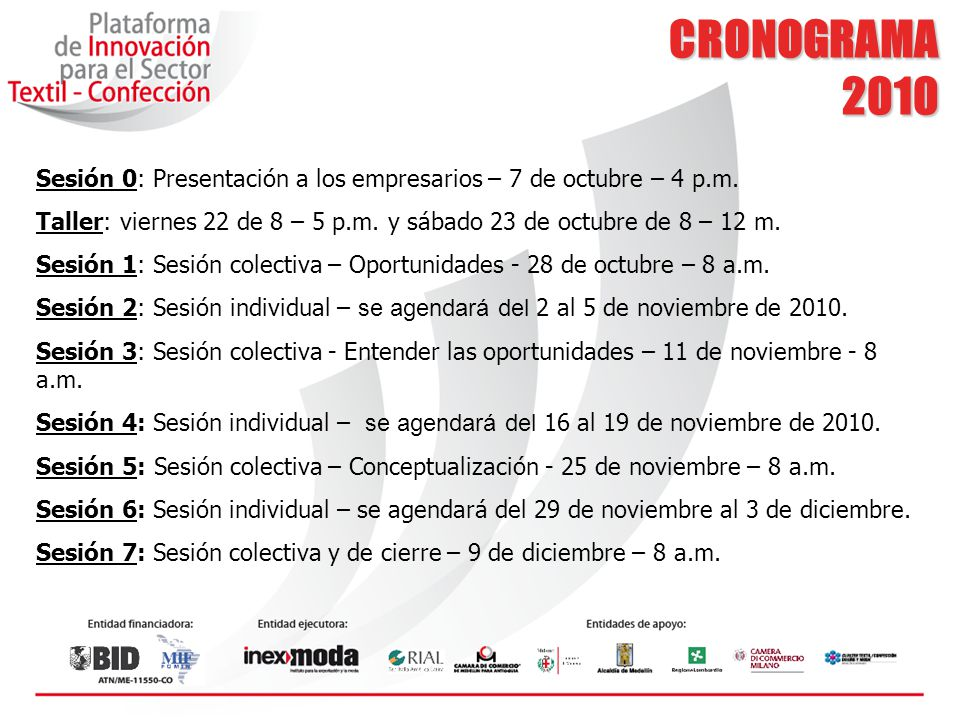 CRONOGRAMA 2010. Sesión 0: Presentación a los empresarios – 7 de octubre – 4 p.m.