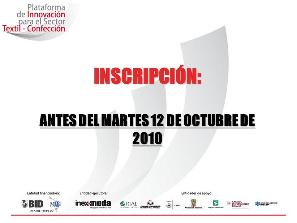 ANTES DEL MARTES 12 DE OCTUBRE DE 2010