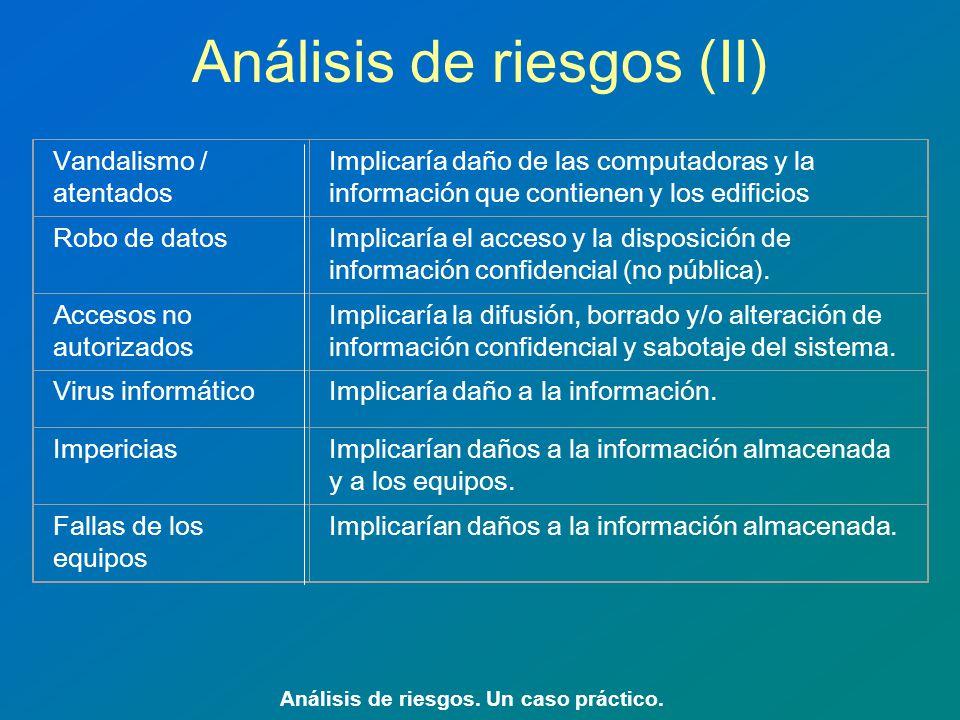 Análisis de riesgos (II)