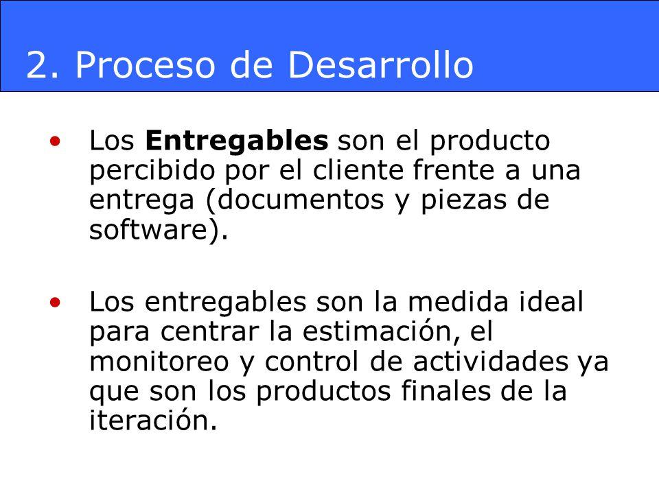 2. Proceso de Desarrollo Los Entregables son el producto percibido por el cliente frente a una entrega (documentos y piezas de software).