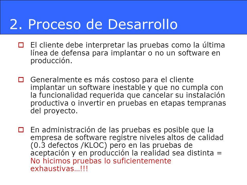 2. Proceso de Desarrollo El cliente debe interpretar las pruebas como la última línea de defensa para implantar o no un software en producción.