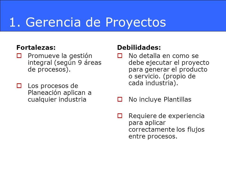 1. Gerencia de Proyectos Fortalezas: