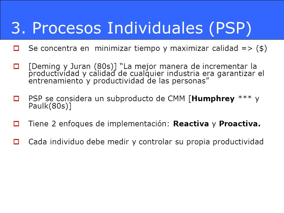 3. Procesos Individuales (PSP)