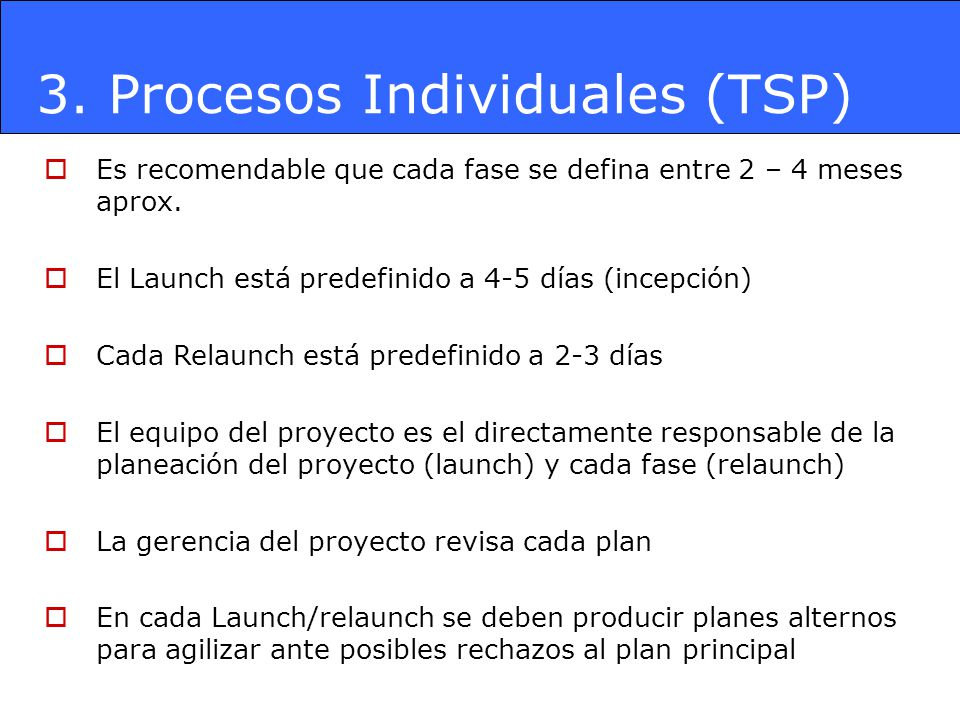 3. Procesos Individuales (TSP)