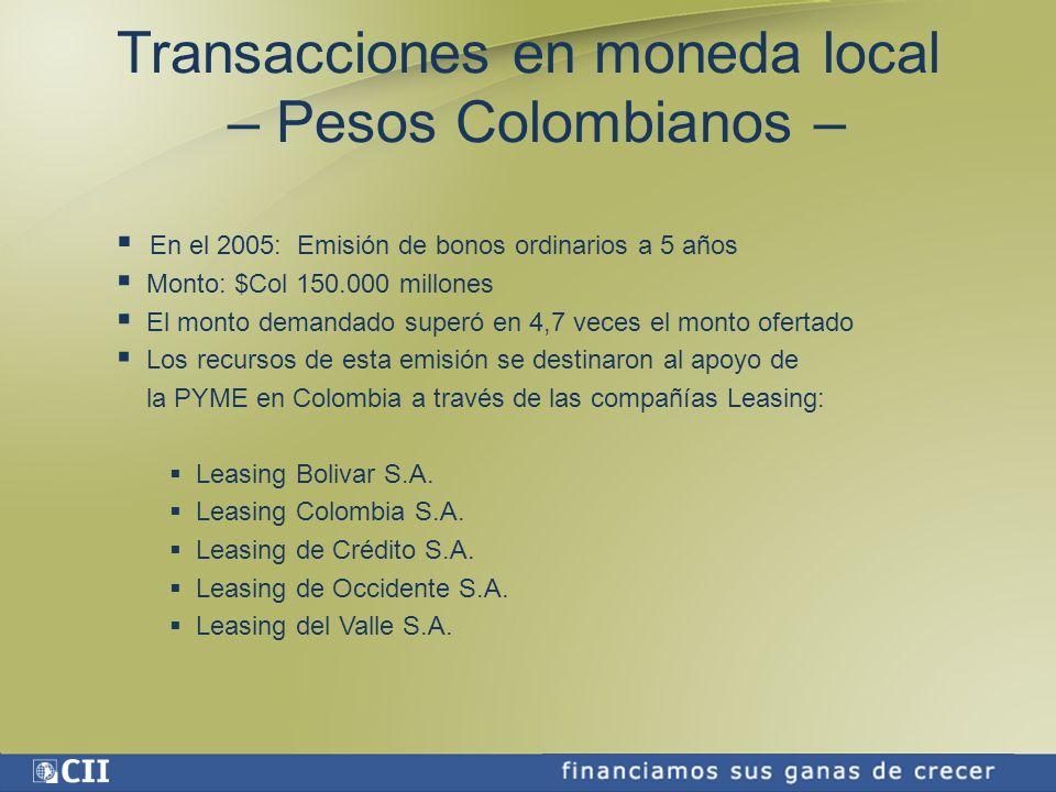 Transacciones en moneda local – Pesos Colombianos –