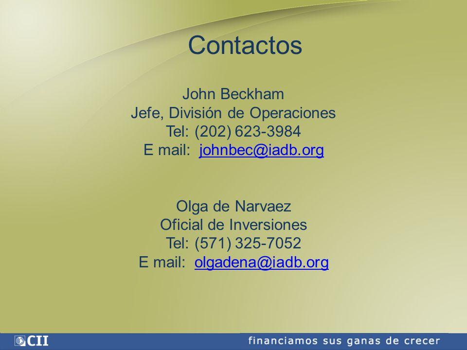 Contactos John Beckham Jefe, División de Operaciones