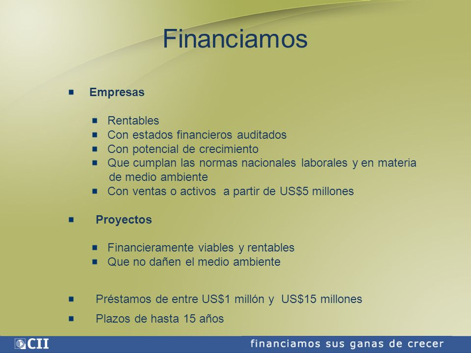 Financiamos Empresas Rentables Con estados financieros auditados