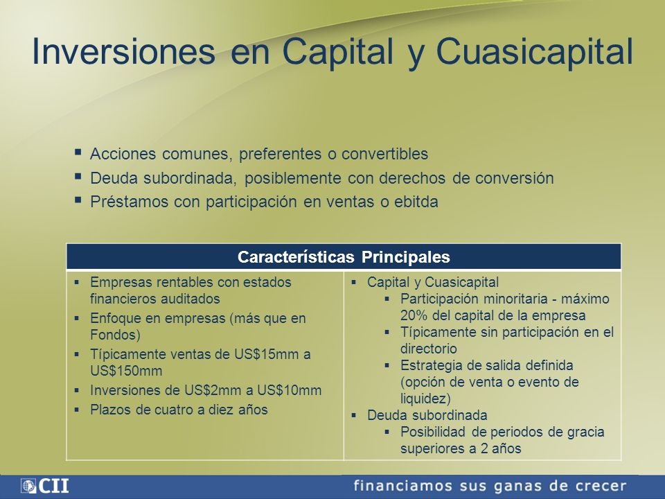 Inversiones en Capital y Cuasicapital