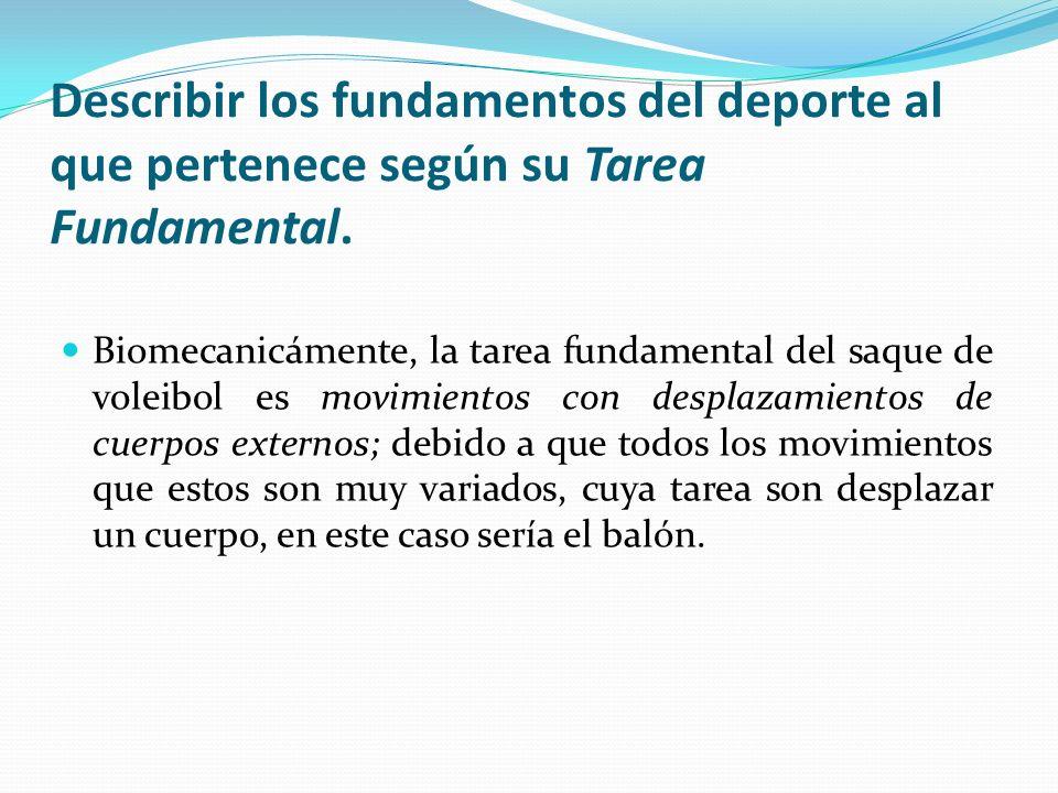 Describir los fundamentos del deporte al que pertenece según su Tarea Fundamental.