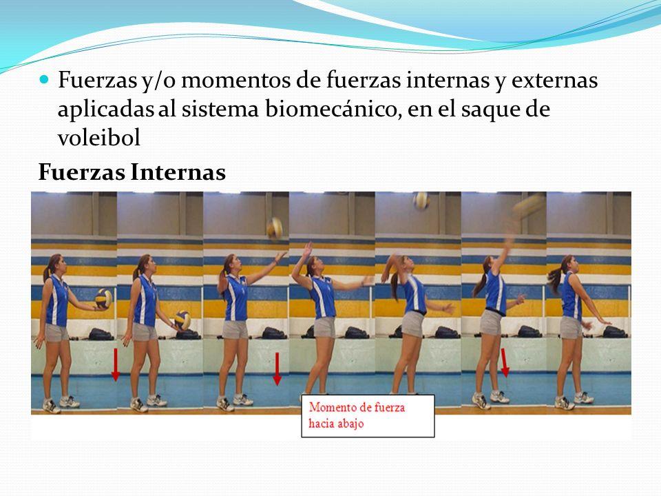 Fuerzas y/o momentos de fuerzas internas y externas aplicadas al sistema biomecánico, en el saque de voleibol